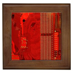 Computer Texture Red Motherboard Circuit Framed Tiles