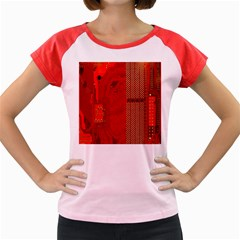 Computer Texture Red Motherboard Circuit Women s Cap Sleeve T Shirt