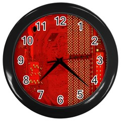 Computer Texture Red Motherboard Circuit Wall Clocks (black) by Simbadda