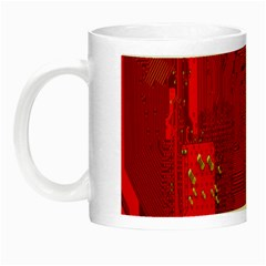 Computer Texture Red Motherboard Circuit Night Luminous Mugs by Simbadda