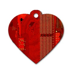 Computer Texture Red Motherboard Circuit Dog Tag Heart (one Side) by Simbadda