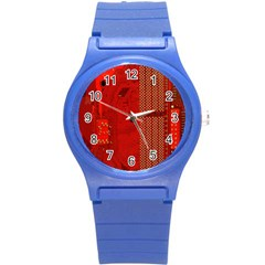 Computer Texture Red Motherboard Circuit Round Plastic Sport Watch (s) by Simbadda