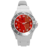 Computer Texture Red Motherboard Circuit Round Plastic Sport Watch (L) Front