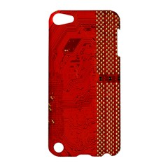 Computer Texture Red Motherboard Circuit Apple Ipod Touch 5 Hardshell Case by Simbadda
