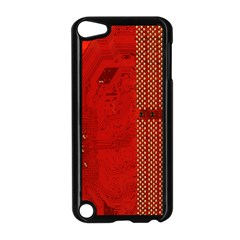 Computer Texture Red Motherboard Circuit Apple Ipod Touch 5 Case (black) by Simbadda