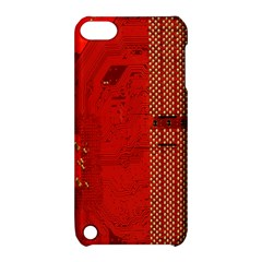 Computer Texture Red Motherboard Circuit Apple Ipod Touch 5 Hardshell Case With Stand by Simbadda