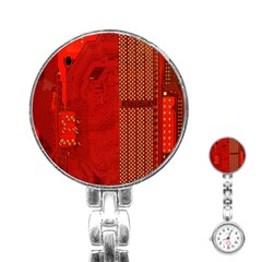 Computer Texture Red Motherboard Circuit Stainless Steel Nurses Watch by Simbadda