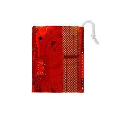 Computer Texture Red Motherboard Circuit Drawstring Pouches (small)