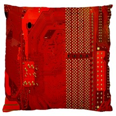 Computer Texture Red Motherboard Circuit Large Flano Cushion Case (two Sides)