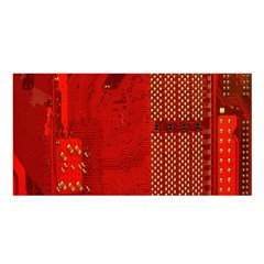 Computer Texture Red Motherboard Circuit Satin Shawl
