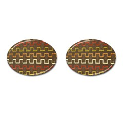 Fabric Texture Vintage Retro 70s Zig Zag Pattern Cufflinks (oval) by Simbadda