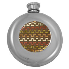 Fabric Texture Vintage Retro 70s Zig Zag Pattern Round Hip Flask (5 Oz) by Simbadda