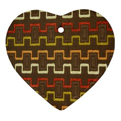 Fabric Texture Vintage Retro 70s Zig Zag Pattern Heart Ornament (two Sides)