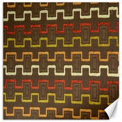 Fabric Texture Vintage Retro 70s Zig Zag Pattern Canvas 12  X 12   by Simbadda