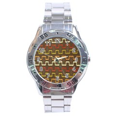 Fabric Texture Vintage Retro 70s Zig Zag Pattern Stainless Steel Analogue Watch by Simbadda