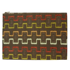Fabric Texture Vintage Retro 70s Zig Zag Pattern Cosmetic Bag (xxl)