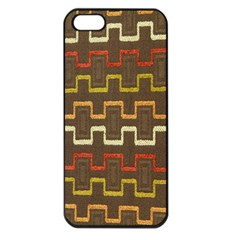 Fabric Texture Vintage Retro 70s Zig Zag Pattern Apple Iphone 5 Seamless Case (black)