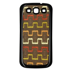 Fabric Texture Vintage Retro 70s Zig Zag Pattern Samsung Galaxy S3 Back Case (black)