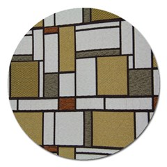Fabric Textures Fabric Texture Vintage Blocks Rectangle Pattern Magnet 5  (round)