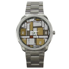Fabric Textures Fabric Texture Vintage Blocks Rectangle Pattern Sport Metal Watch by Simbadda