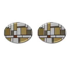 Fabric Textures Fabric Texture Vintage Blocks Rectangle Pattern Cufflinks (oval) by Simbadda