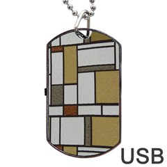 Fabric Textures Fabric Texture Vintage Blocks Rectangle Pattern Dog Tag Usb Flash (two Sides) by Simbadda