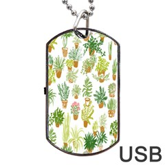 Flowers Pattern Dog Tag Usb Flash (two Sides) by Simbadda