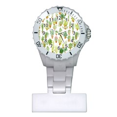Flowers Pattern Plastic Nurses Watch