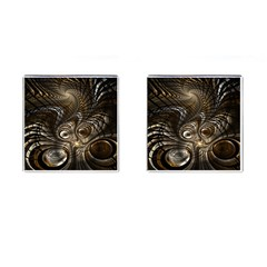 Fractal Art Texture Neuron Chaos Fracture Broken Synapse Cufflinks (square) by Simbadda