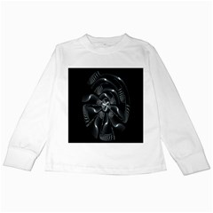 Fractal Disk Texture Black White Spiral Circle Abstract Tech Technologic Kids Long Sleeve T Shirts