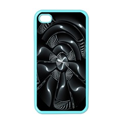 Fractal Disk Texture Black White Spiral Circle Abstract Tech Technologic Apple Iphone 4 Case (color)