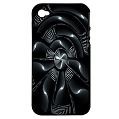 Fractal Disk Texture Black White Spiral Circle Abstract Tech Technologic Apple Iphone 4/4s Hardshell Case (pc+silicone)