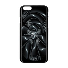 Fractal Disk Texture Black White Spiral Circle Abstract Tech Technologic Apple Iphone 6/6s Black Enamel Case by Simbadda