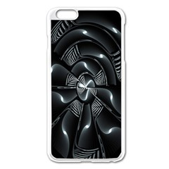 Fractal Disk Texture Black White Spiral Circle Abstract Tech Technologic Apple Iphone 6 Plus/6s Plus Enamel White Case