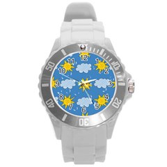 Sunshine Tech Blue Round Plastic Sport Watch (l) by Simbadda