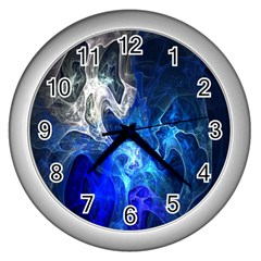 Ghost Fractal Texture Skull Ghostly White Blue Light Abstract Wall Clocks (silver)
