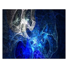 Ghost Fractal Texture Skull Ghostly White Blue Light Abstract Rectangular Jigsaw Puzzl by Simbadda