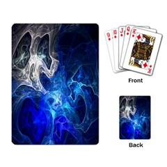 Ghost Fractal Texture Skull Ghostly White Blue Light Abstract Playing Card by Simbadda