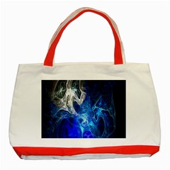 Ghost Fractal Texture Skull Ghostly White Blue Light Abstract Classic Tote Bag (red) by Simbadda