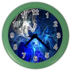 Ghost Fractal Texture Skull Ghostly White Blue Light Abstract Color Wall Clocks by Simbadda