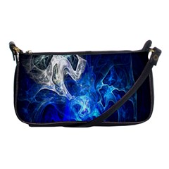 Ghost Fractal Texture Skull Ghostly White Blue Light Abstract Shoulder Clutch Bags by Simbadda