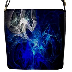 Ghost Fractal Texture Skull Ghostly White Blue Light Abstract Flap Messenger Bag (s) by Simbadda
