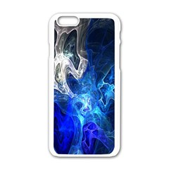 Ghost Fractal Texture Skull Ghostly White Blue Light Abstract Apple Iphone 6/6s White Enamel Case