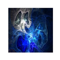 Ghost Fractal Texture Skull Ghostly White Blue Light Abstract Small Satin Scarf (square) by Simbadda