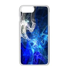 Ghost Fractal Texture Skull Ghostly White Blue Light Abstract Apple Iphone 7 Plus White Seamless Case