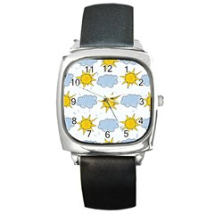 Sunshine Tech White Square Metal Watch