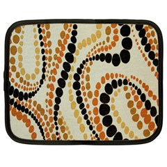 Polka Dot Texture Fabric 70s Orange Swirl Cloth Pattern Netbook Case (large) by Simbadda