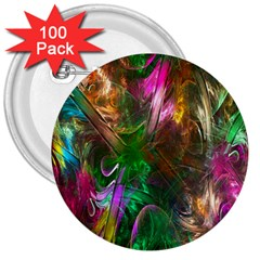 Fractal Texture Abstract Messy Light Color Swirl Bright 3  Buttons (100 Pack)  by Simbadda