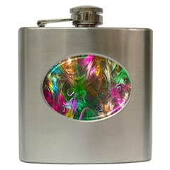 Fractal Texture Abstract Messy Light Color Swirl Bright Hip Flask (6 Oz) by Simbadda