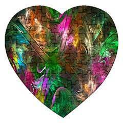 Fractal Texture Abstract Messy Light Color Swirl Bright Jigsaw Puzzle (heart) by Simbadda